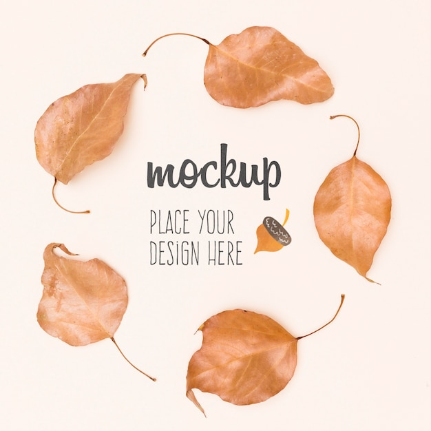 Leaves composition autumnal mock-up Free Psd