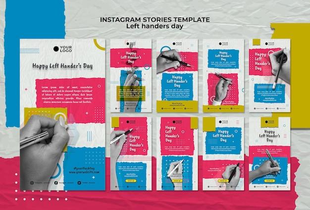 Шаблон историй instagram концепт день левшей Бесплатные Psd