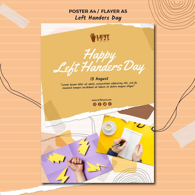Left handers day poster template design Free Psd