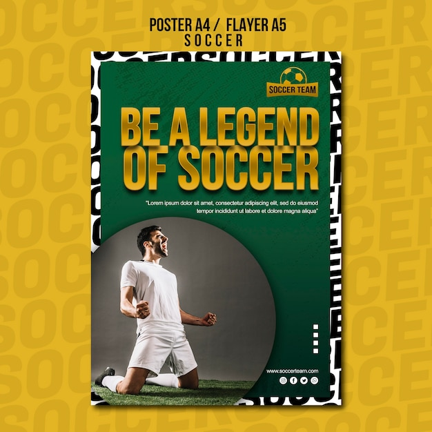 Legend school of soccer poster template Free Psd