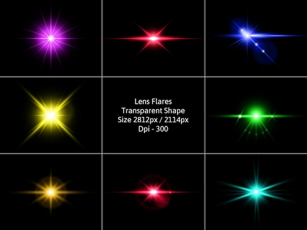 Пакет lens flares в изолированном рендеринге Premium Psd
