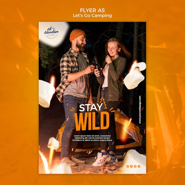 Let's go camping flyer template Free Psd