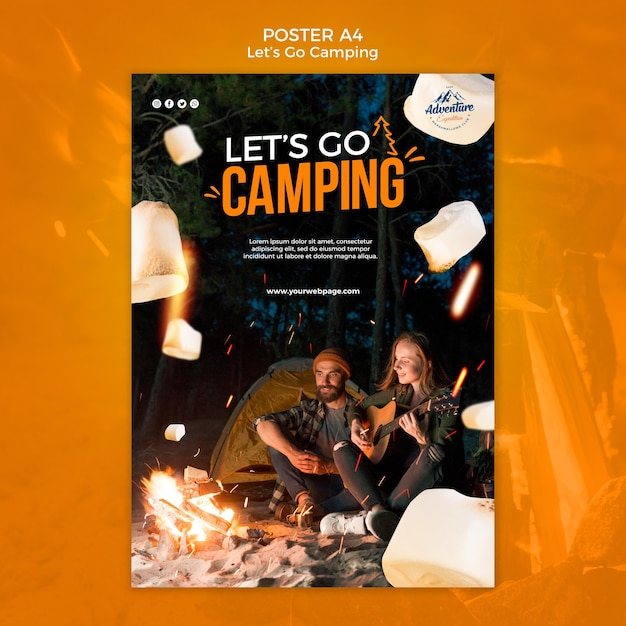 Let's go camping poster template Free Psd
