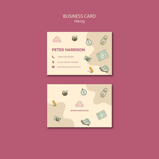 Let's go hiking business card template Free Psd