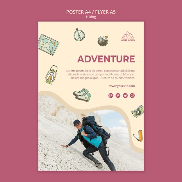 Let's go hiking flyer template Free Psd