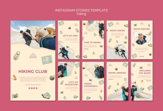 Let's go hiking instagram stories template Free Psd