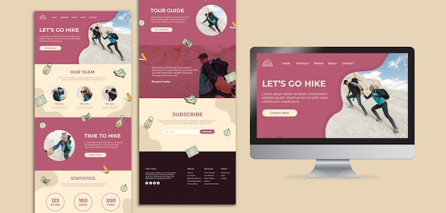 Let's go hiking landing page and screen Free Psd