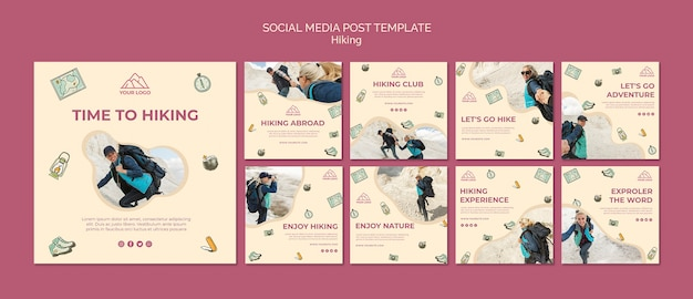 Let's go hiking social media post template Free Psd