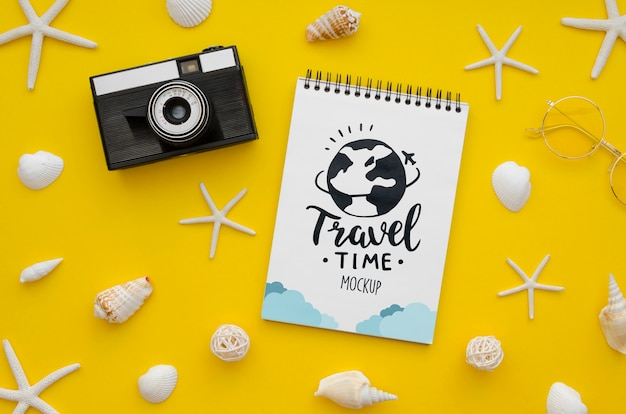 Let's go travel mock-up and vintage camera Free Psd