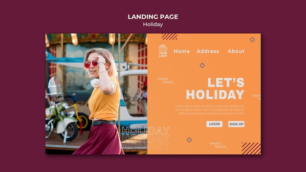 Let's holiday landing page template Premium Psd