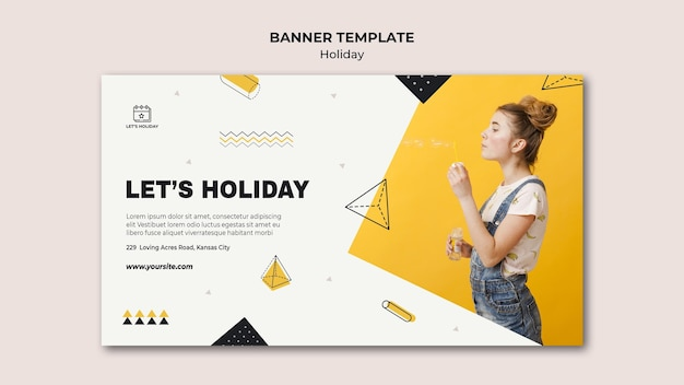 Let's holiday party banner template Free Psd