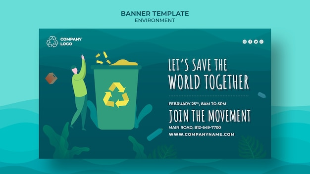 Let's save the oceans together banner Free Psd