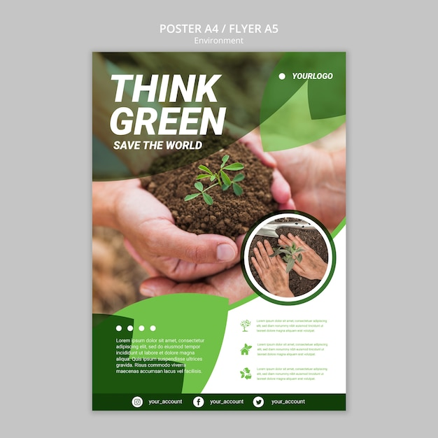 Let's save the world flyer template Free Psd