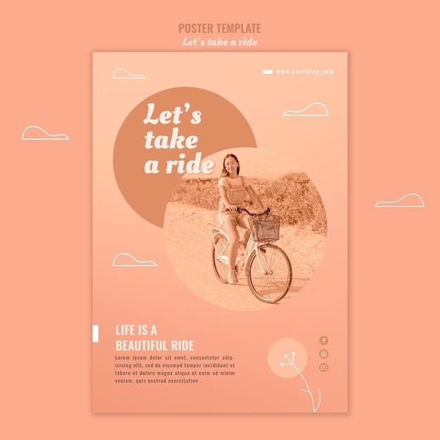 사진과 함께 타고 포스터 템플릿을 가져 가자 무료 PSD 파일