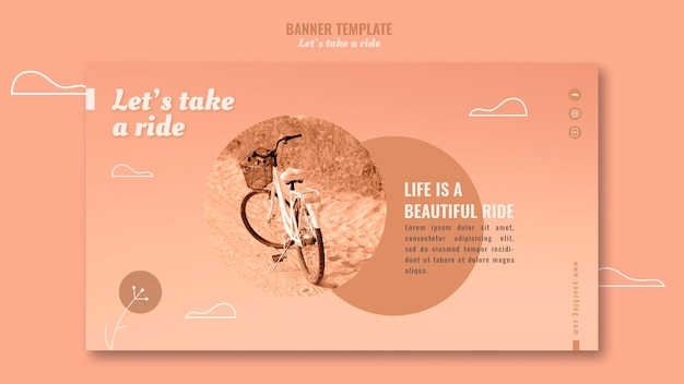 Let's take a ride banner template with photo Free Psd
