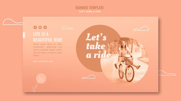 Let's take a ride banner template Free Psd