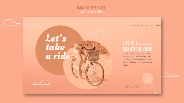 Let's take a ride horizontal banner template Free Psd