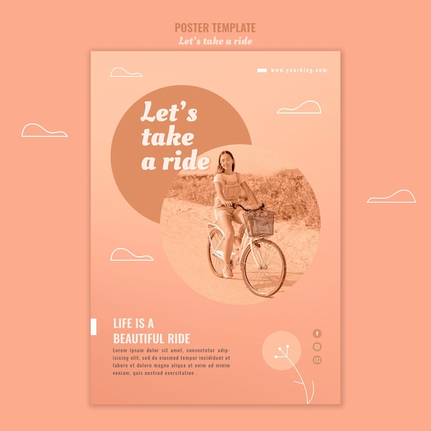Let's take a ride poster template with photo Free Psd