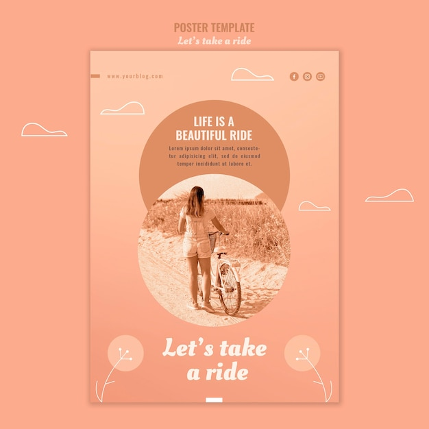 Let's take a ride poster template Free Psd