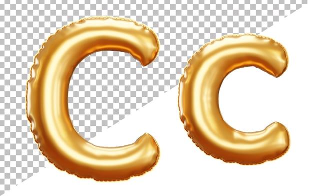 Буква c золотой фольгированный воздушный шар алфавит в верхнем и нижнем регистре в стиле 3d Premium Psd