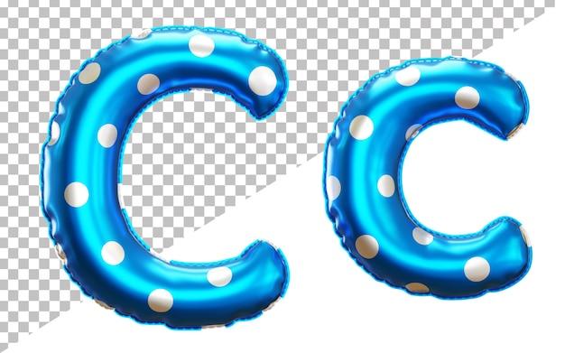 Буква c в горошек алфавит из гелиевой фольги с прописными и строчными буквами Premium Psd