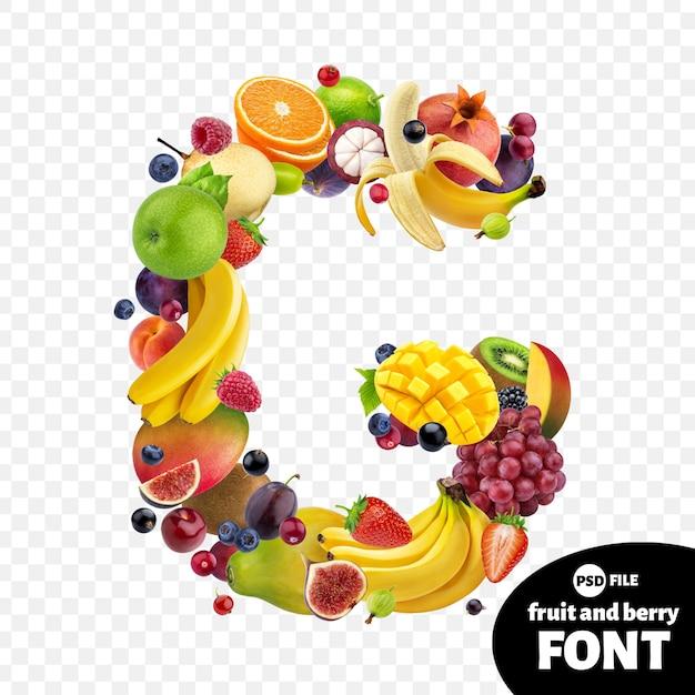 Letter g, fruit font symbol Premium Psd