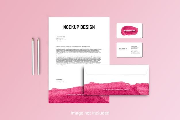 Бланк, конверт и макет визитной карточки Premium Psd