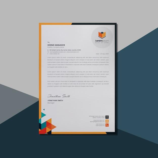 Letterhead layout with orange geometric shape Premium Psd