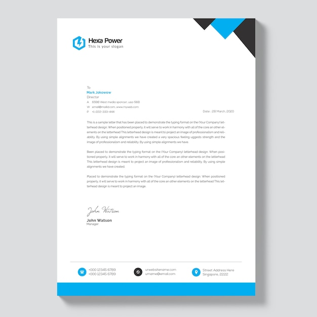 Letterhead mockup with blue and black shapes Premium Psd