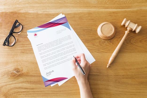 법률 개념 편지지 이랑 무료 PSD 파일
