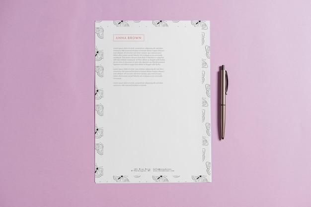 letterhead mockup with pen psd file free download