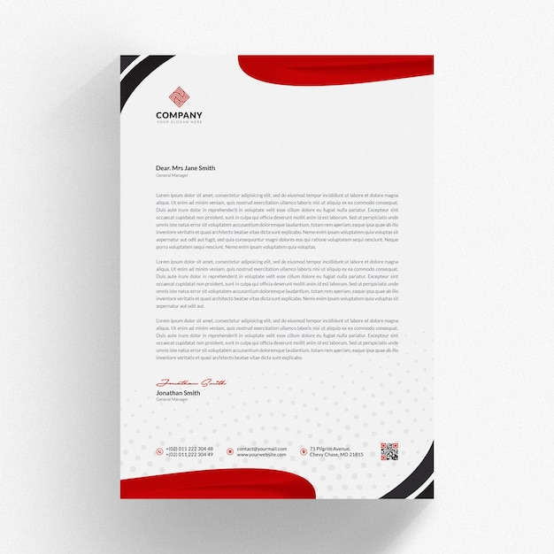 Letterhead Mockup With Red Wavy Shapes Premium Psd