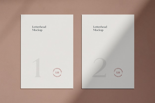 Letterhead mockup with shadow Premium Psd