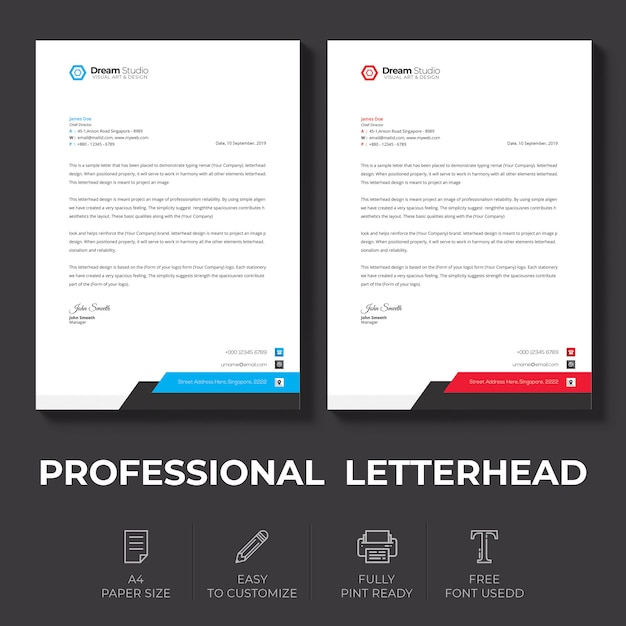 Letterhead template in flat style Free Psd