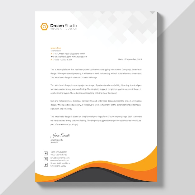Letterhead template in flat style Premium Psd
