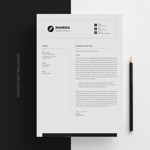 Letterhead Template In Flat Style: Letterhead Template In Flat Style PSD File