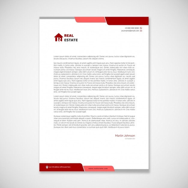 letterhead template with red elements psd file premium download