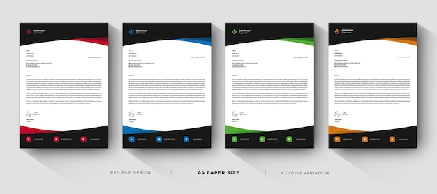 레터 헤드 템플릿 전문적이고 현대적인 디자인 프리미엄 PSD 파일