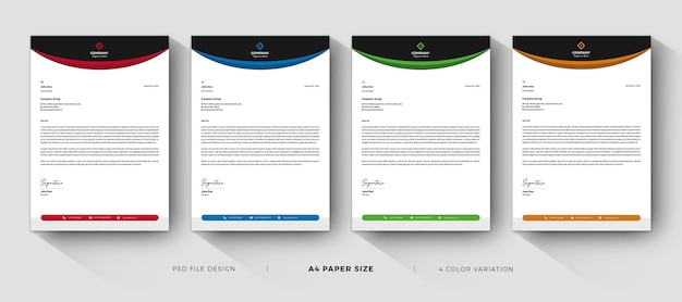 Letterhead templates professional design with color variation Premium Psd