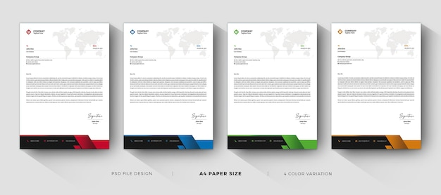 Letterhead templates professional and modern design with color variation Premium Psd