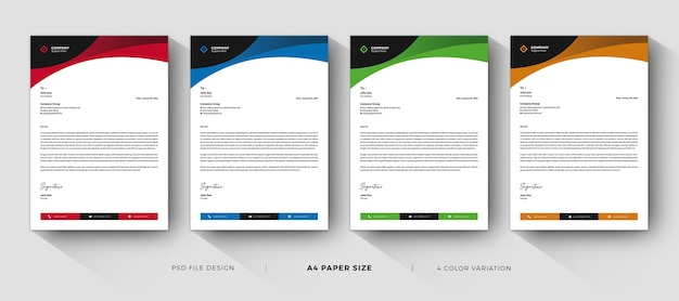 Letterhead templates professional and modern design Premium Psd