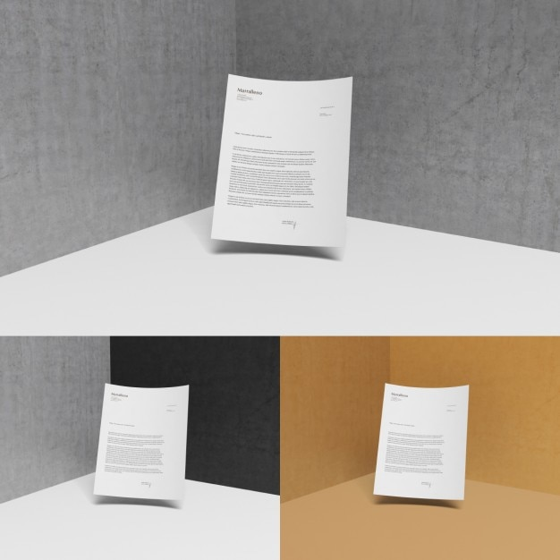 Letterhead with different backgrounds mock up Free Psd