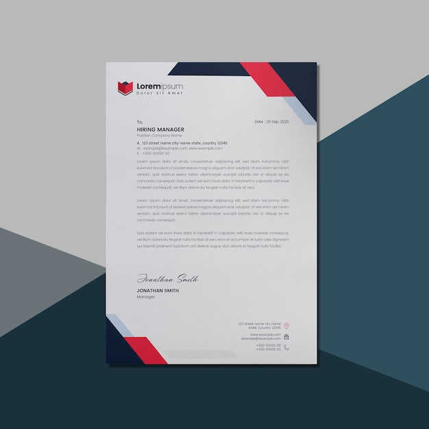 Letterhead with red and dark accents Premium Psd