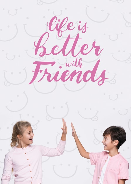 Life is better with friends boy and girl mock-up Free Psd