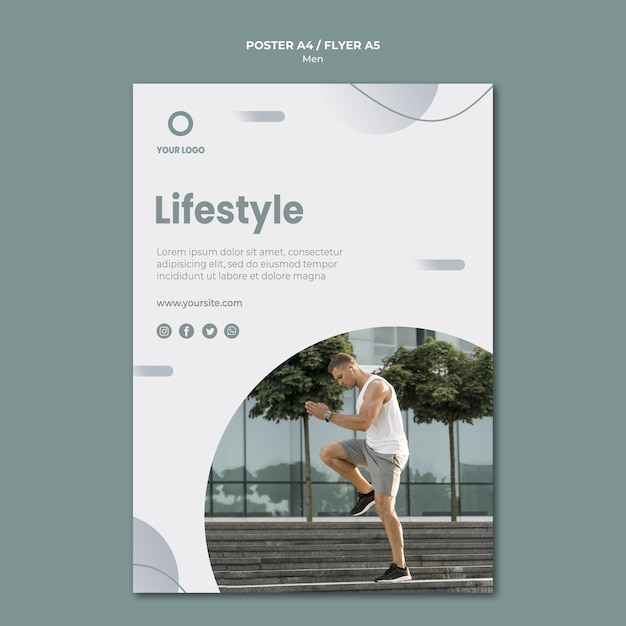 Lifestyle and man being sporty poster template Free Psd