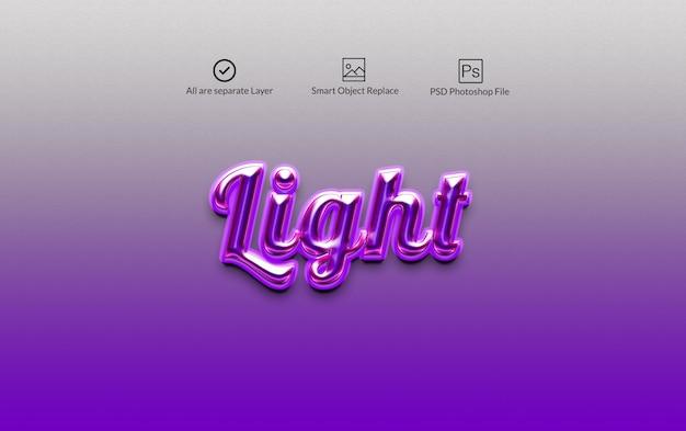 Light photoshop layer style text effect Premium Psd