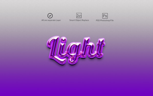 Light photoshopのレイヤースタイルのテキスト効果 Premium Psd