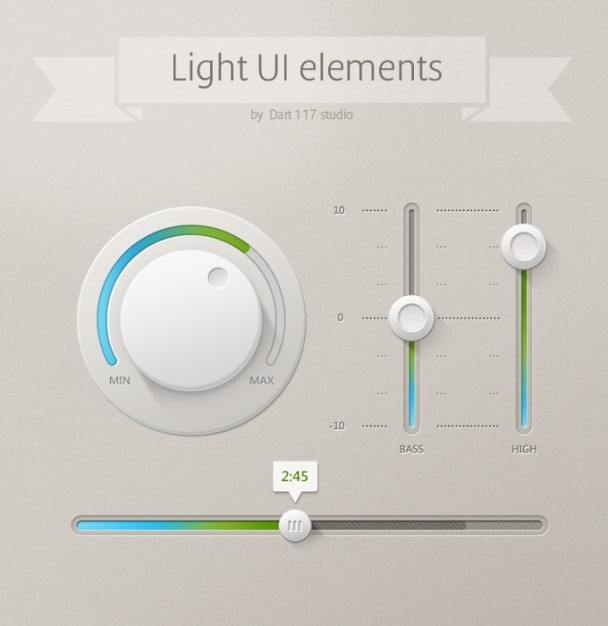 Light ui ui control ui elements Free Psd