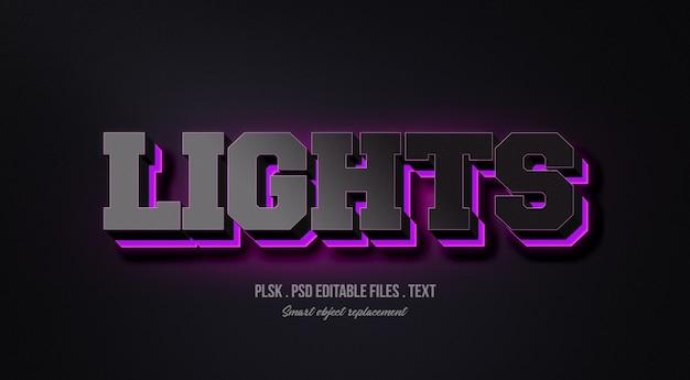 Lights 3d text style effect mockup Premium Psd