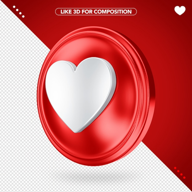Like 3d red side angle for composition Premium Psd